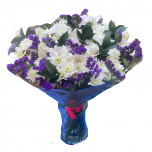 Bouquet with white roses (50 cm)
